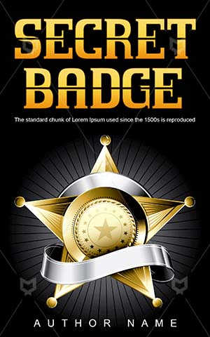 Thrillers-book-cover-Badge-Sheriff-Old-West-Thriller-design-Gold-star-Badges-vector-Metal-Cover-symbol-Illustration-Vintage-badge-Golden