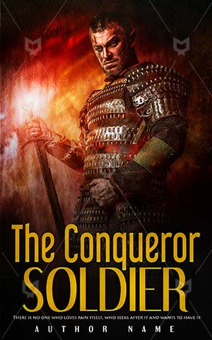 Thrillers-book-cover-Soldier-Conqueror-Brave-Fantasy-Strong-Metallic-Steel-Sharp-Male-Man-Fighter-Iron-Knight-Weapon-History