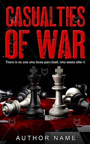 Thrillers-book-cover-War-Casualties-Red-White-Big-game-Fallen-Piece-Blood-Thriller-design-Bishop-Chess-King-Fell-Destroyed