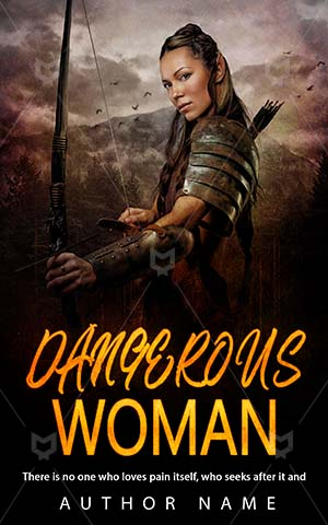 Thrillers-book-cover-Woman-Scary-Thriller-design-Elf-woman-Bow-Holding-Arm-Armor-Danger-Mountain-Weapon-History-Gloomy